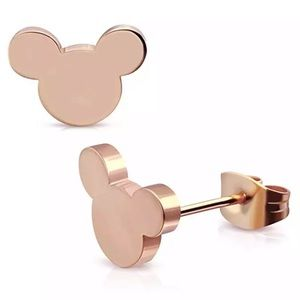 Rose Gold Mickey Mouse Earrings